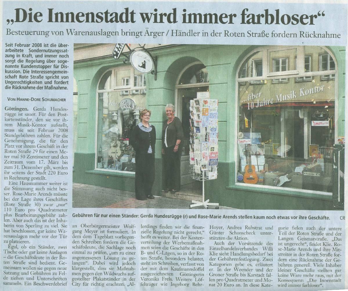 Die Stadt Göttingen kassiert: Sondernutzungsabgabe für Auslagen vor den Geschäften