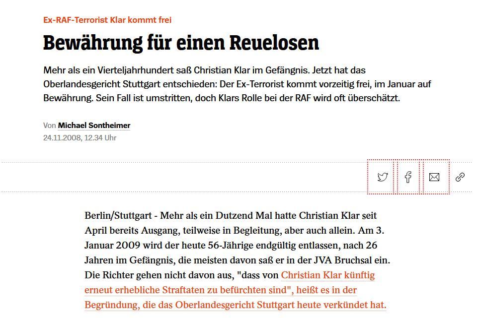 Christian Klar wird nach 26 Jahren aus der Haft entlassen