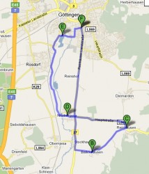 Karte Radtour Göttingen Ballenhausen Wendebachstausee Reinhausen