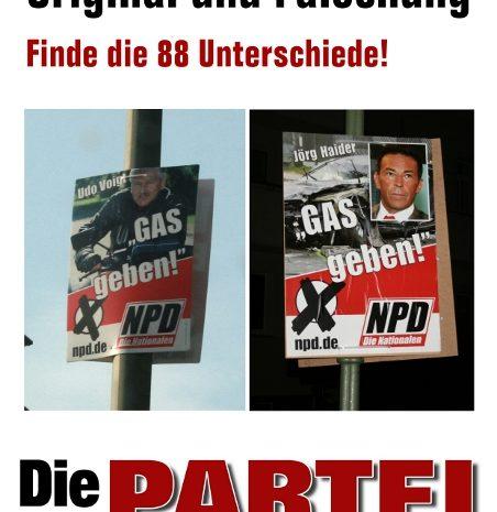 Die Partei mit NPD Wahlkampfplakat